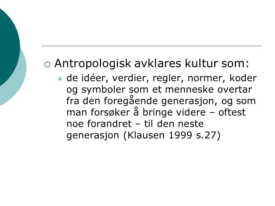 Antropologisk avklares kultur som: