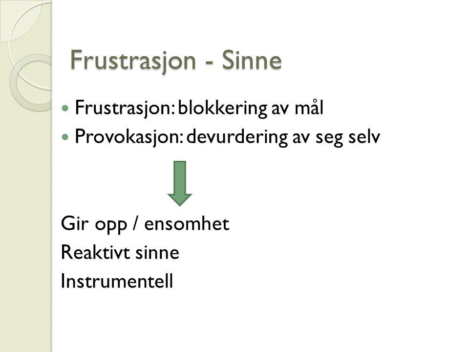 Frustrasjon - Sinne Frustrasjon: blokkering av mål