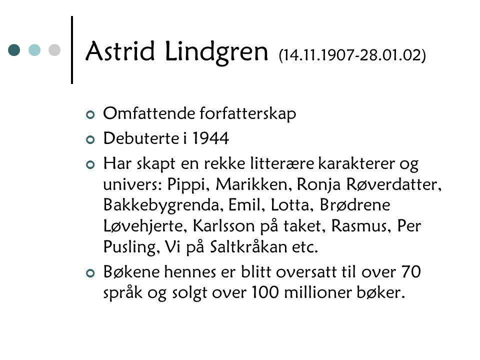 Astrid Lindgren (14.11.1907-28.01.02) Omfattende forfatterskap