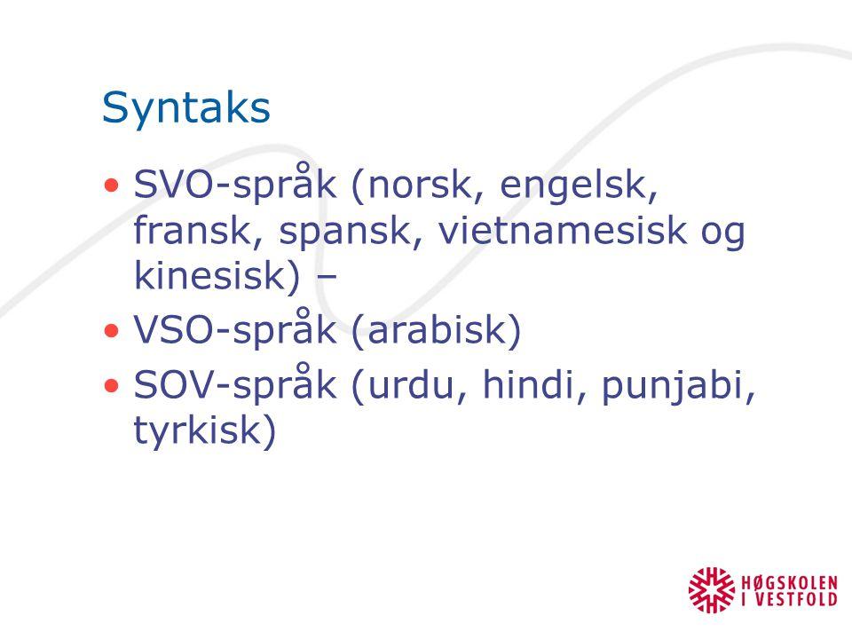 Syntaks SVO-språk (norsk, engelsk, fransk, spansk, vietnamesisk og kinesisk) – VSO-språk (arabisk)