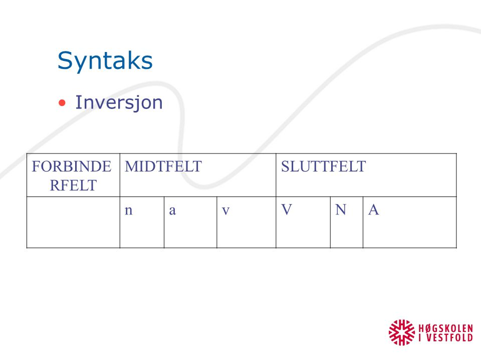 Syntaks Inversjon FORBINDERFELT MIDTFELT SLUTTFELT n a v V N A