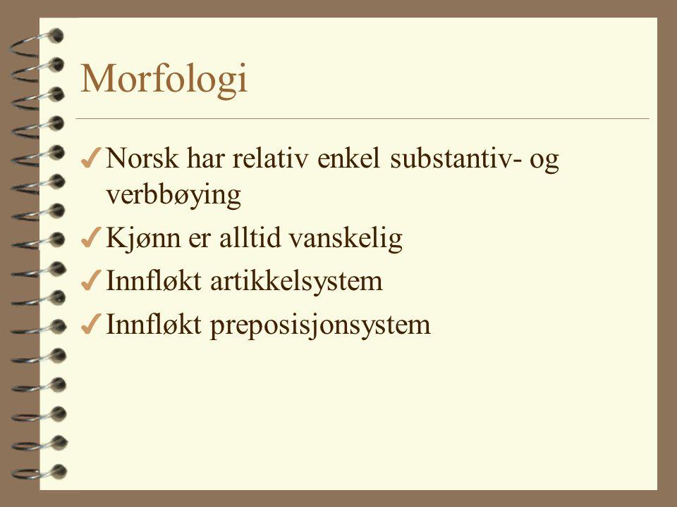 Morfologi Norsk har relativ enkel substantiv- og verbbøying