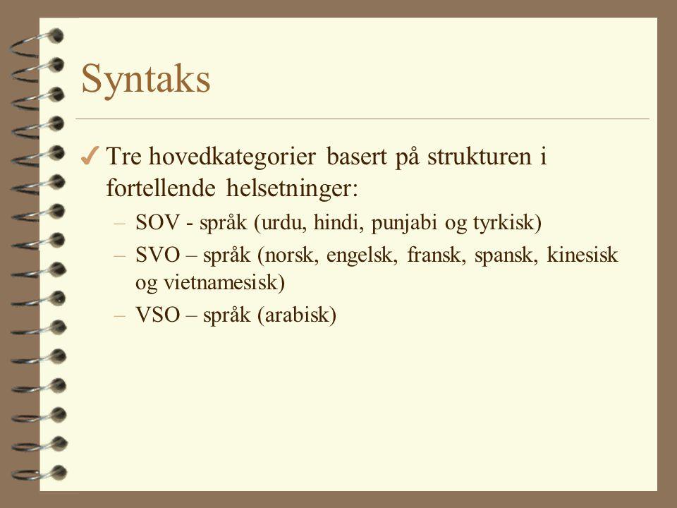 Syntaks Tre hovedkategorier basert på strukturen i fortellende helsetninger: SOV - språk (urdu, hindi, punjabi og tyrkisk)