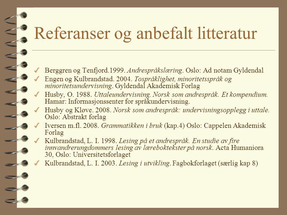 Referanser og anbefalt litteratur