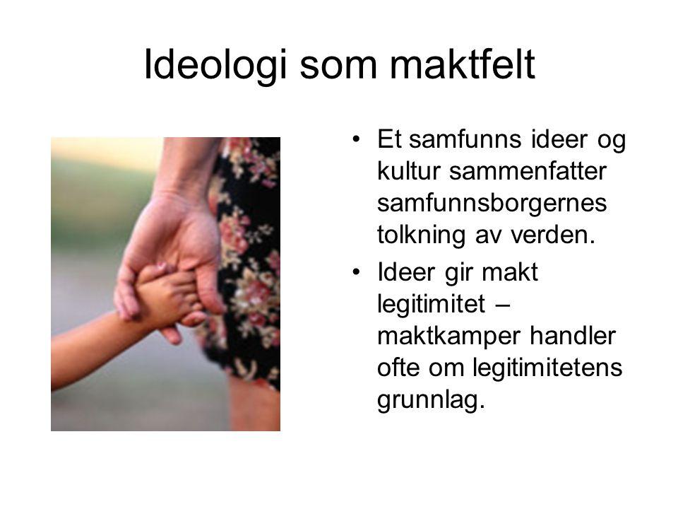 Ideologi som maktfelt Et samfunns ideer og kultur sammenfatter samfunnsborgernes tolkning av verden.