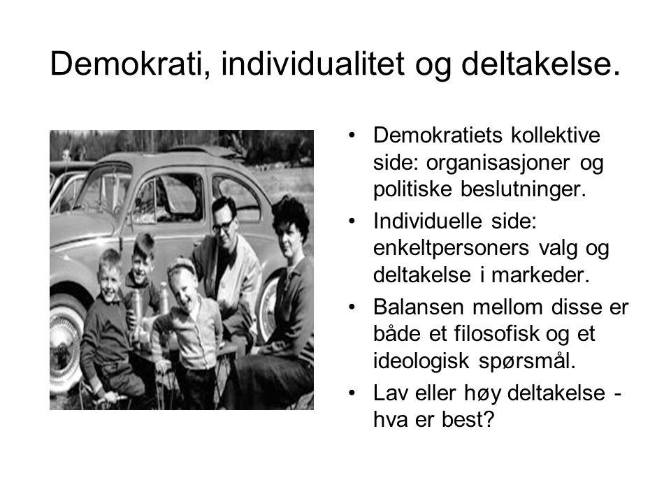 Demokrati, individualitet og deltakelse.