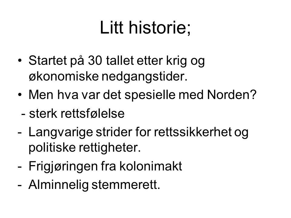 Litt historie; Startet på 30 tallet etter krig og økonomiske nedgangstider. Men hva var det spesielle med Norden