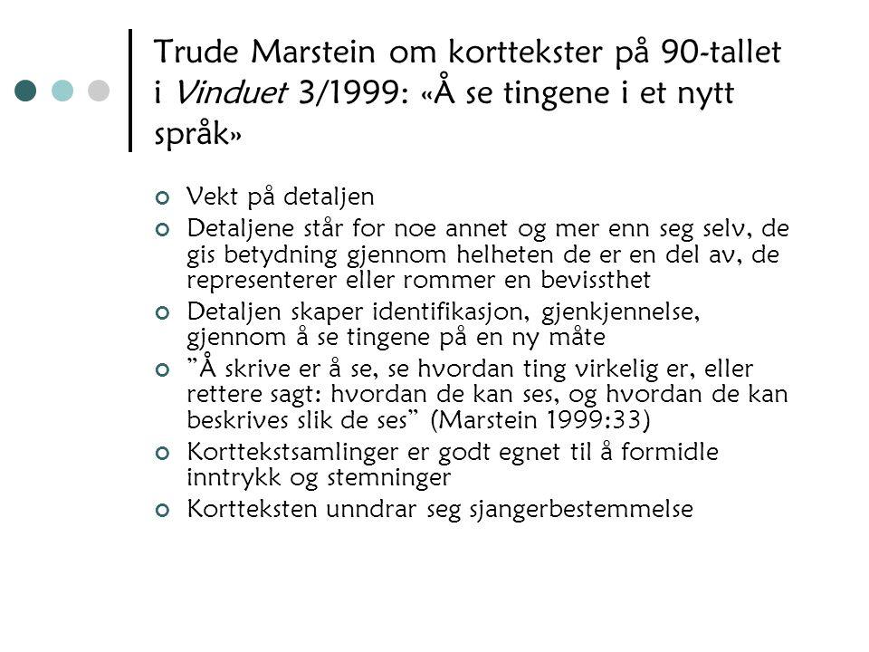 Trude Marstein om korttekster på 90-tallet i Vinduet 3/1999: «Å se tingene i et nytt språk»
