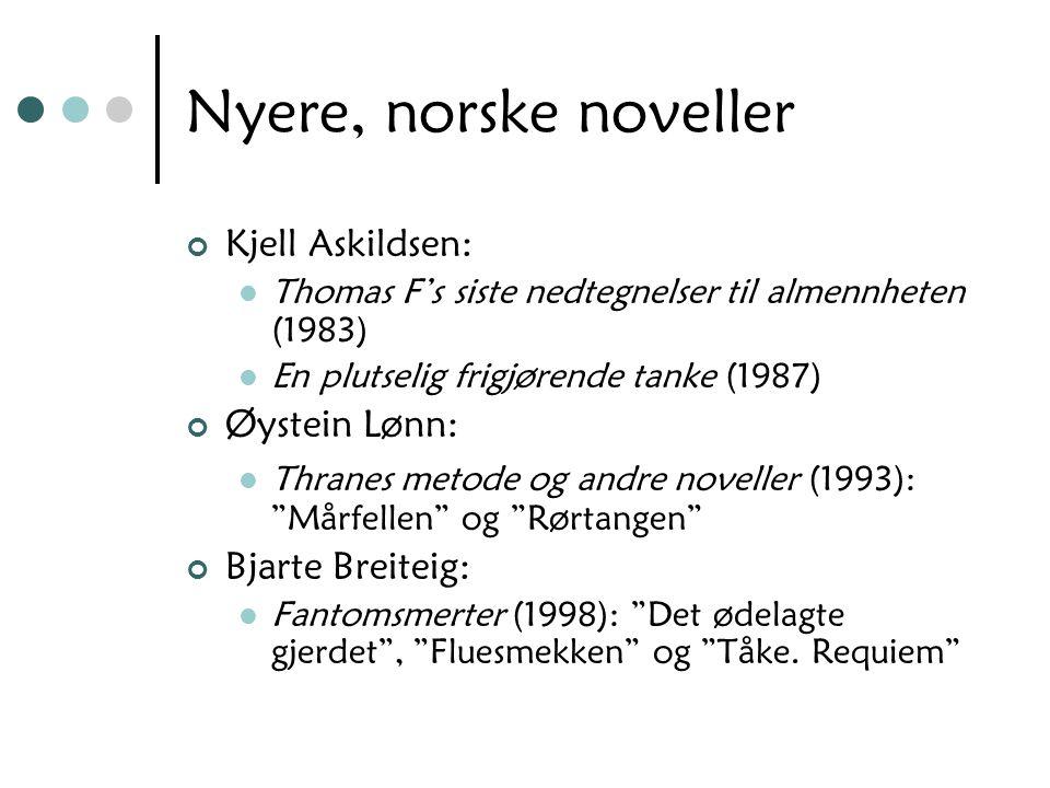 Nyere, norske noveller Kjell Askildsen: Øystein Lønn: Bjarte Breiteig: