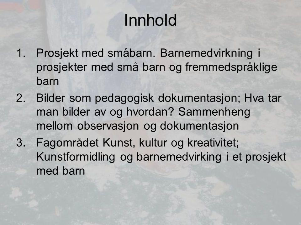 Innhold Prosjekt med småbarn. Barnemedvirkning i prosjekter med små barn og fremmedspråklige barn.
