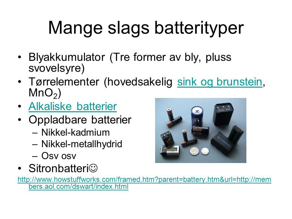 Mange slags batterityper