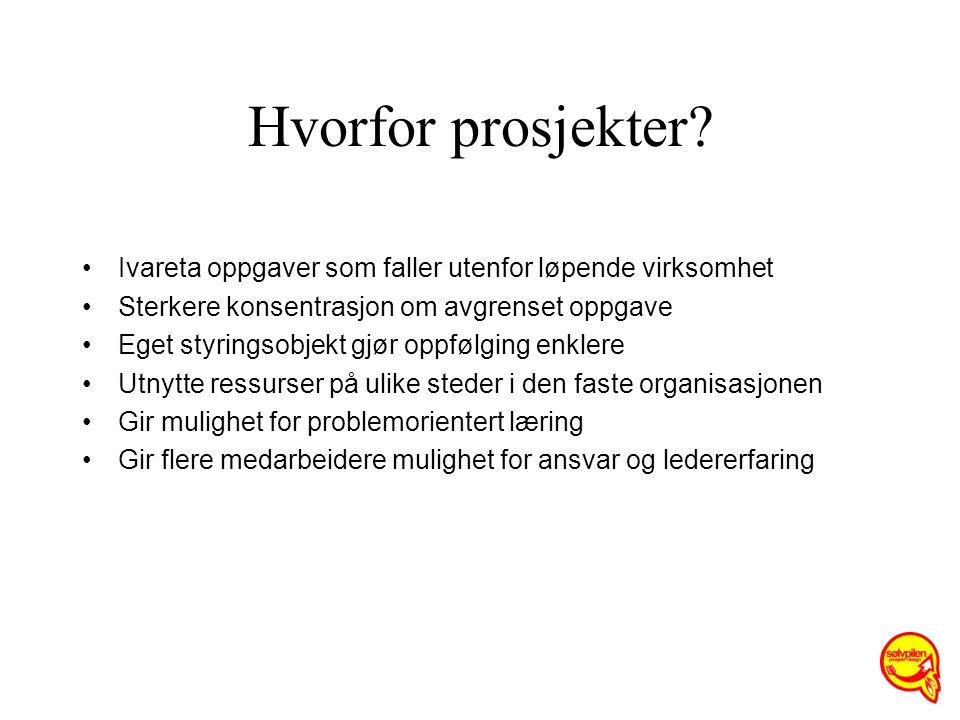 Hvorfor prosjekter Ivareta oppgaver som faller utenfor løpende virksomhet. Sterkere konsentrasjon om avgrenset oppgave.