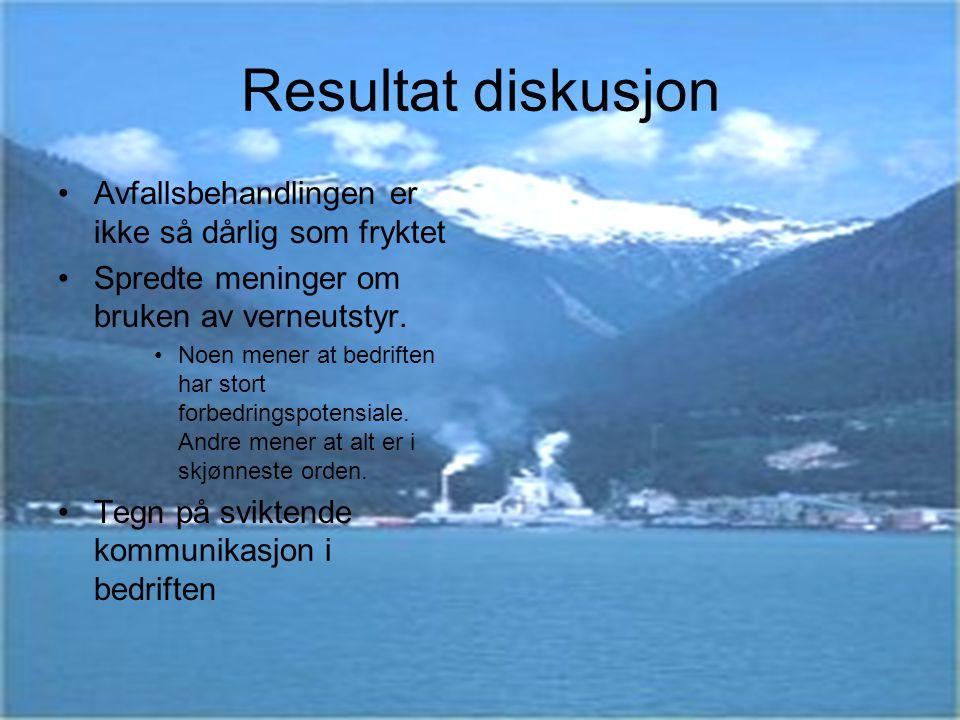 Resultat diskusjon Avfallsbehandlingen er ikke så dårlig som fryktet