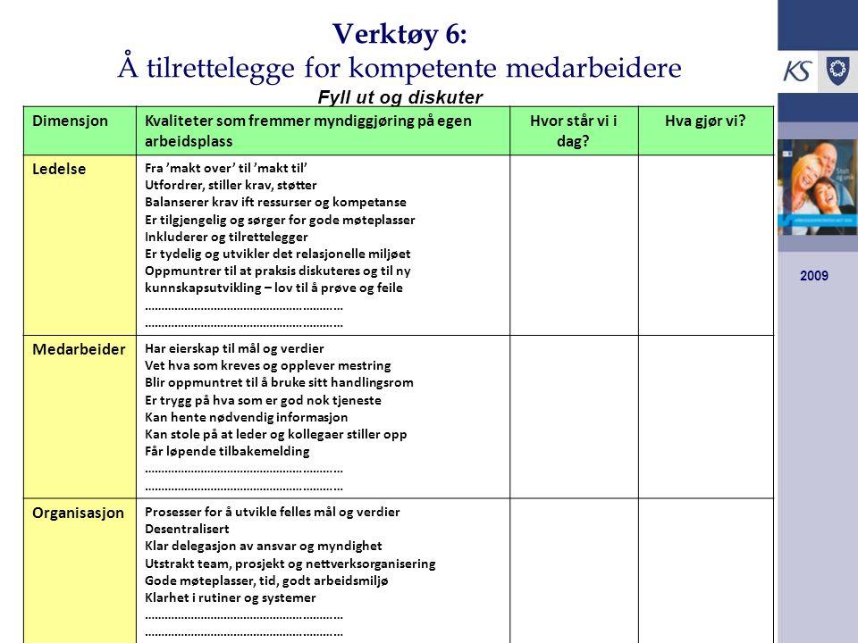 Verktøy 6: Å tilrettelegge for kompetente medarbeidere Fyll ut og diskuter
