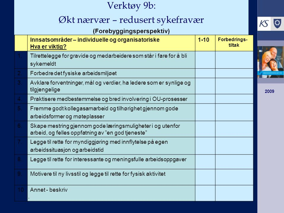 Verktøy 9b: Økt nærvær – redusert sykefravær (Forebyggingsperspektiv)