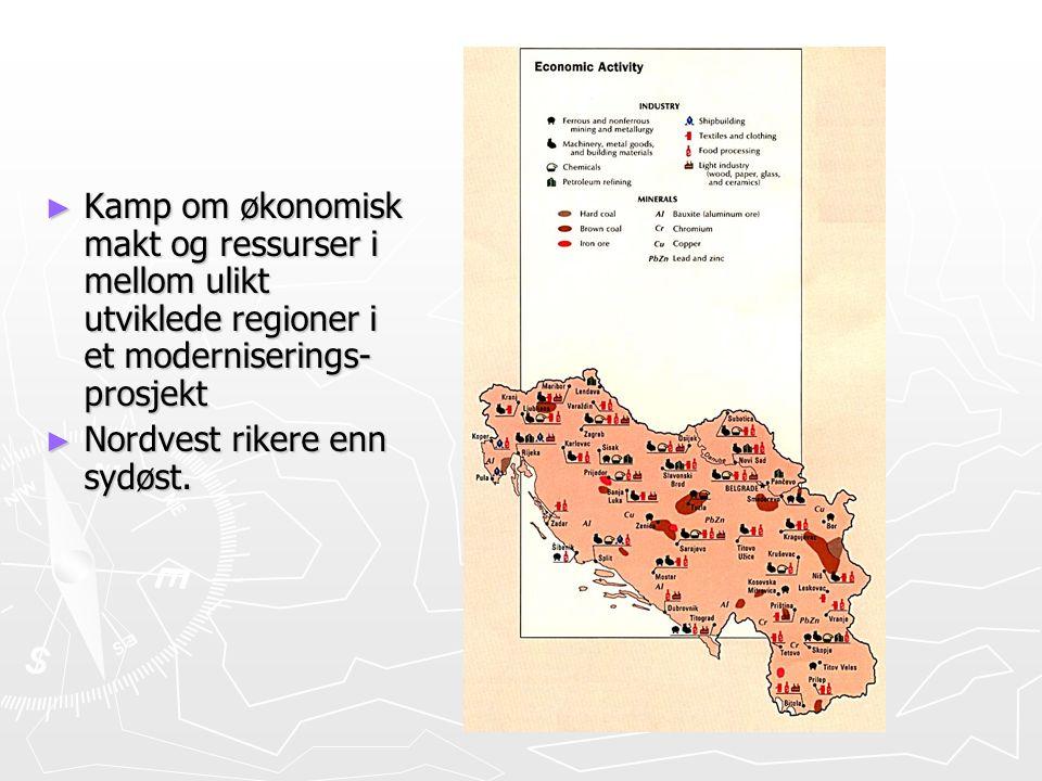Kamp om økonomisk makt og ressurser i mellom ulikt utviklede regioner i et moderniserings-prosjekt