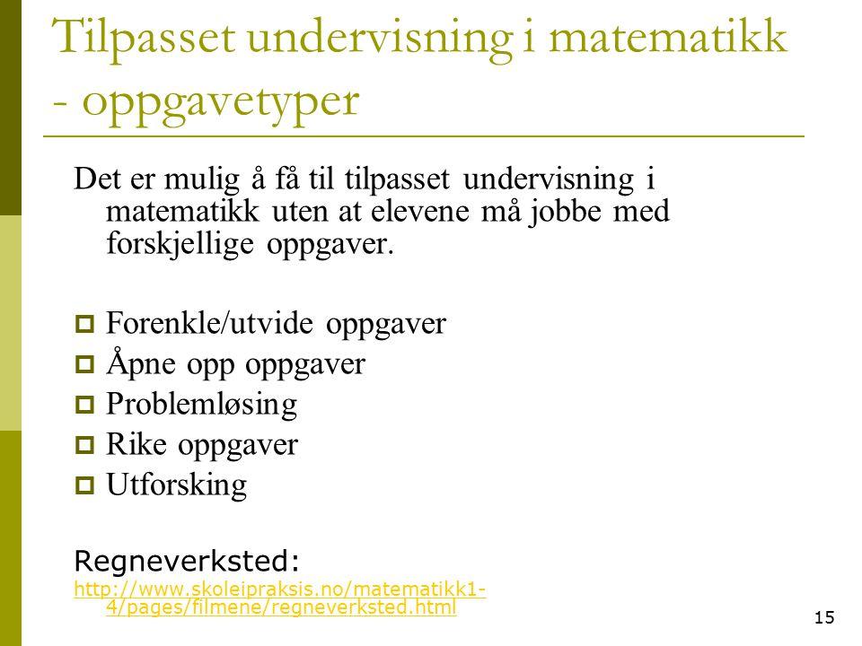 Tilpasset undervisning i matematikk - oppgavetyper