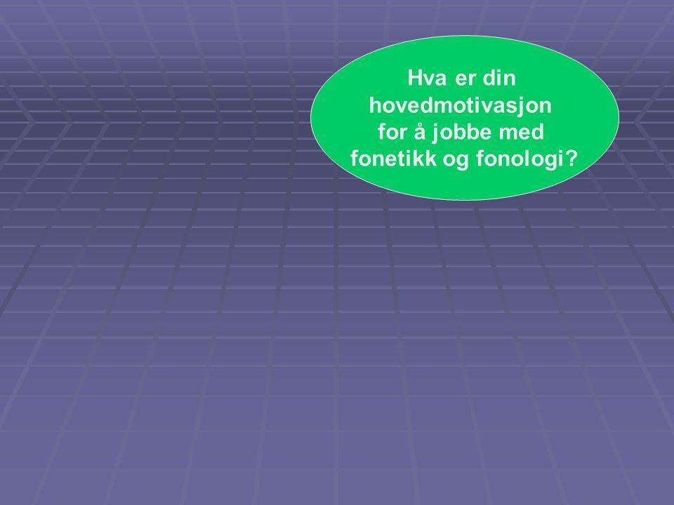Hva er din hovedmotivasjon for å jobbe med fonetikk og fonologi