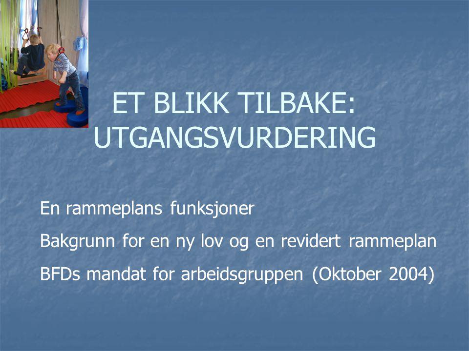 ET BLIKK TILBAKE: UTGANGSVURDERING