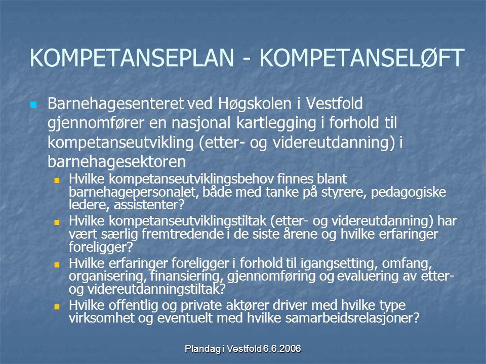 KOMPETANSEPLAN - KOMPETANSELØFT