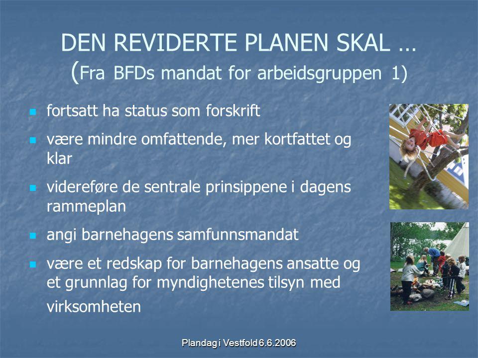DEN REVIDERTE PLANEN SKAL … (Fra BFDs mandat for arbeidsgruppen 1)