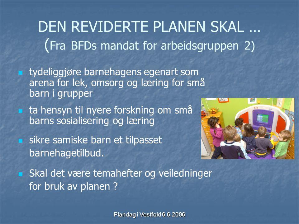 DEN REVIDERTE PLANEN SKAL … (Fra BFDs mandat for arbeidsgruppen 2)