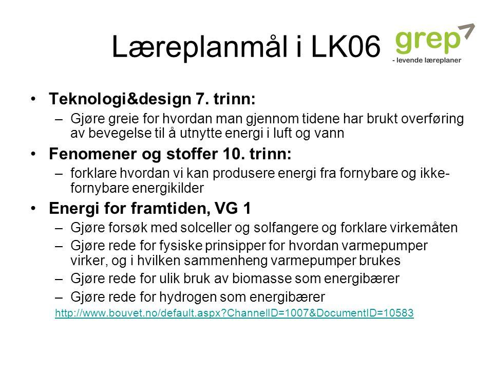 Læreplanmål i LK06 Teknologi&design 7. trinn: