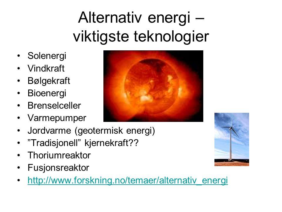 Alternativ energi – viktigste teknologier