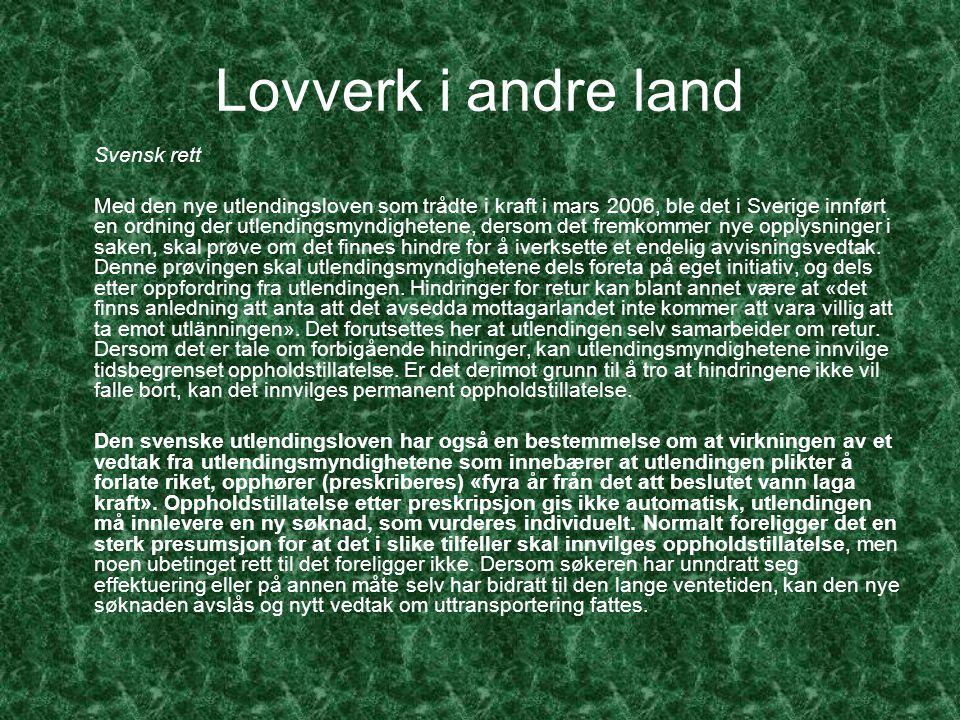 Lovverk i andre land Svensk rett.