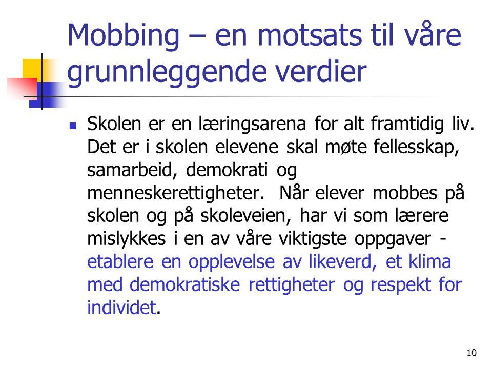 Mobbing – en motsats til våre grunnleggende verdier