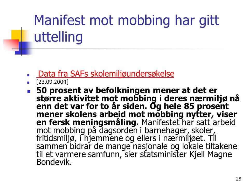 Manifest mot mobbing har gitt uttelling