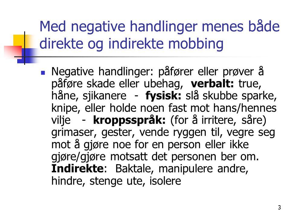Med negative handlinger menes både direkte og indirekte mobbing