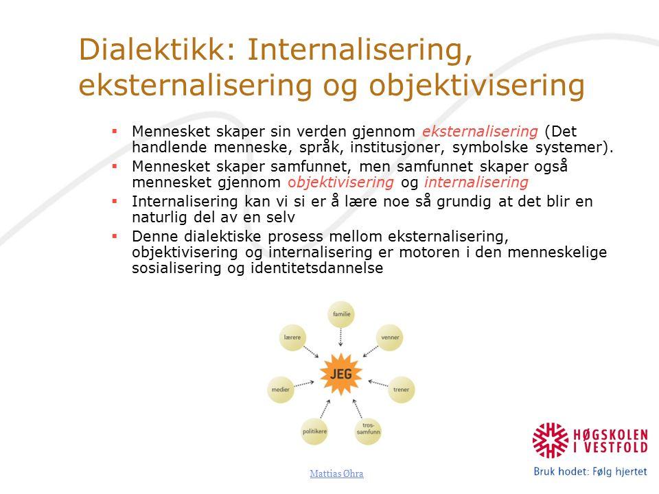 Dialektikk: Internalisering, eksternalisering og objektivisering