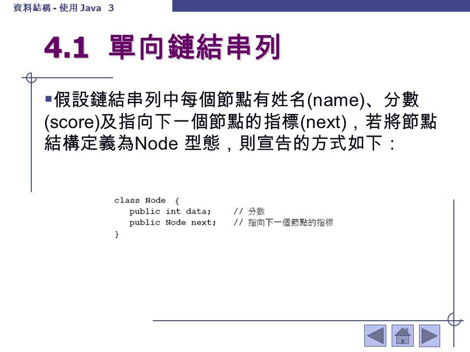 4.1 單向鏈結串列 假設鏈結串列中每個節點有姓名(name)、分數(score)及指向下一個節點的指標(next),若將節點結構定義為Node 型態,則宣告的方式如下: