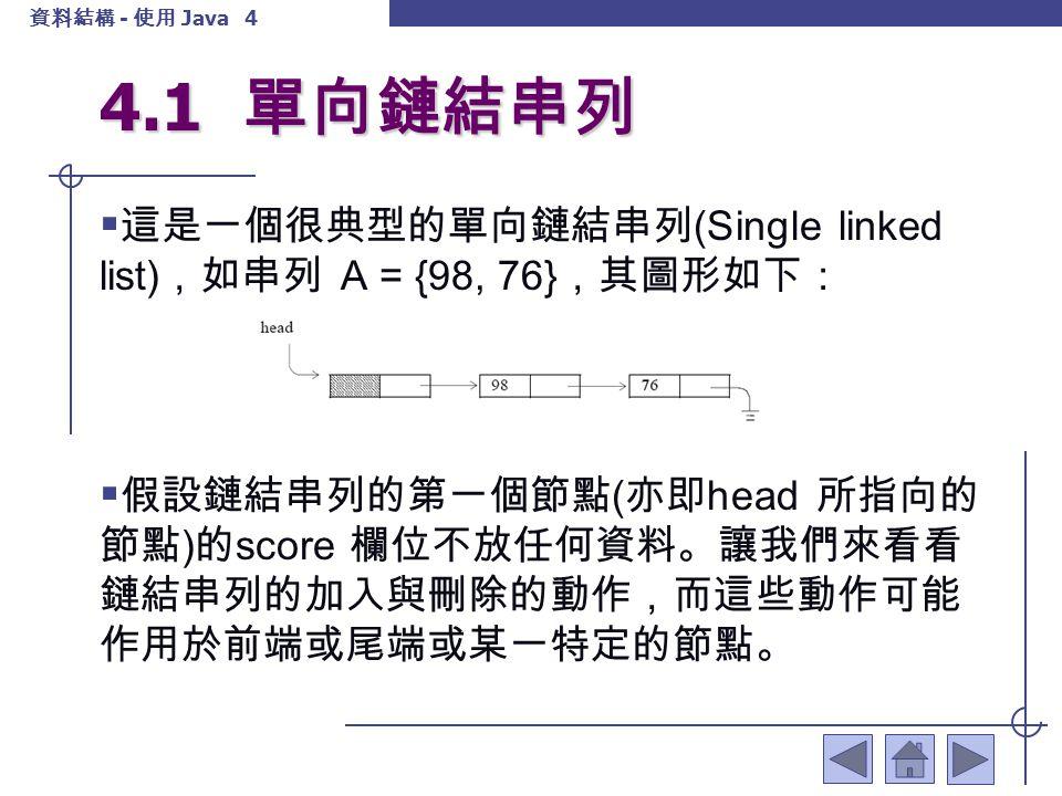 4.1 單向鏈結串列 這是一個很典型的單向鏈結串列(Single linked list),如串列 A = {98, 76},其圖形如下: