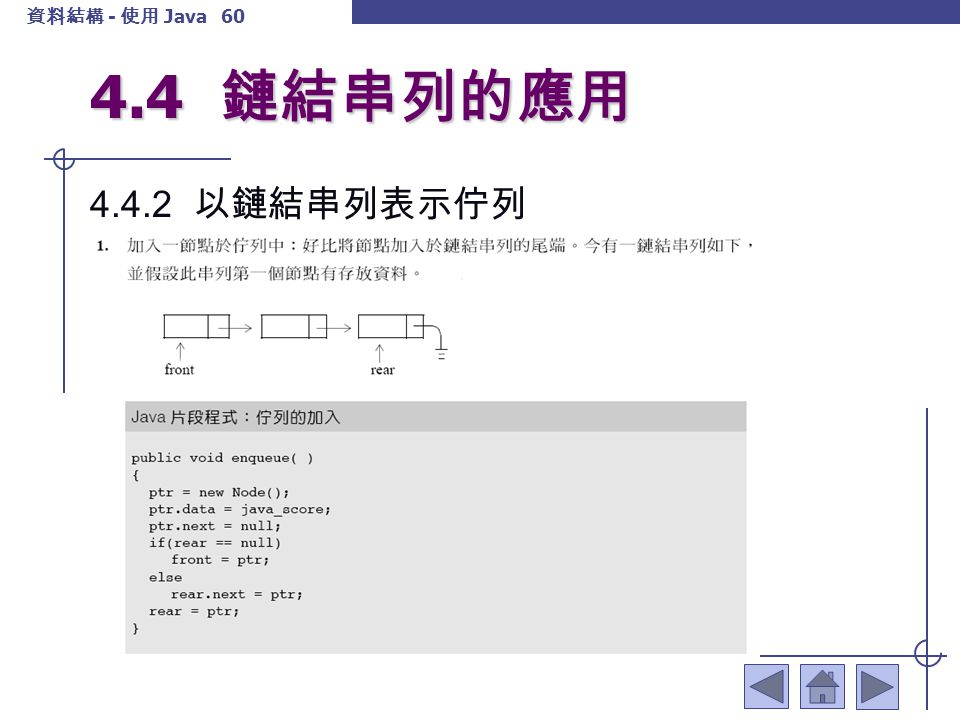 4.4 鏈結串列的應用 4.4.2 以鏈結串列表示佇列