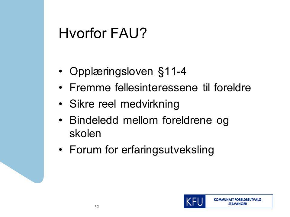 Hvorfor FAU Opplæringsloven §11-4