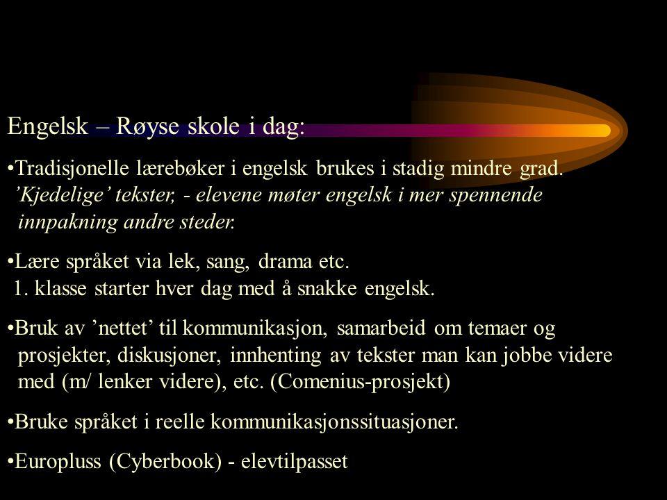 Engelsk – Røyse skole i dag: