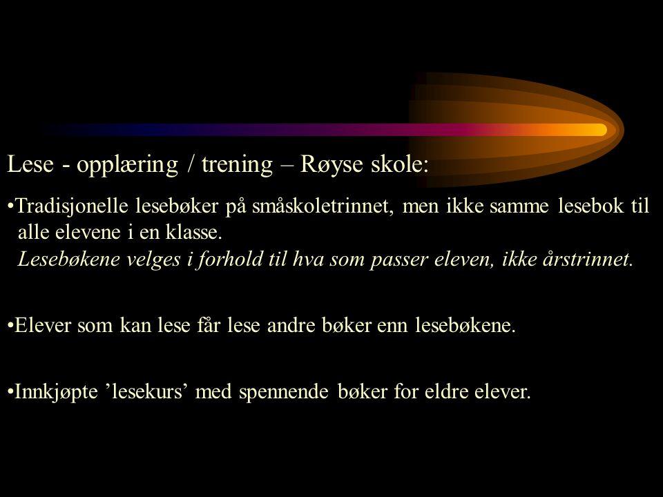Lese - opplæring / trening – Røyse skole: