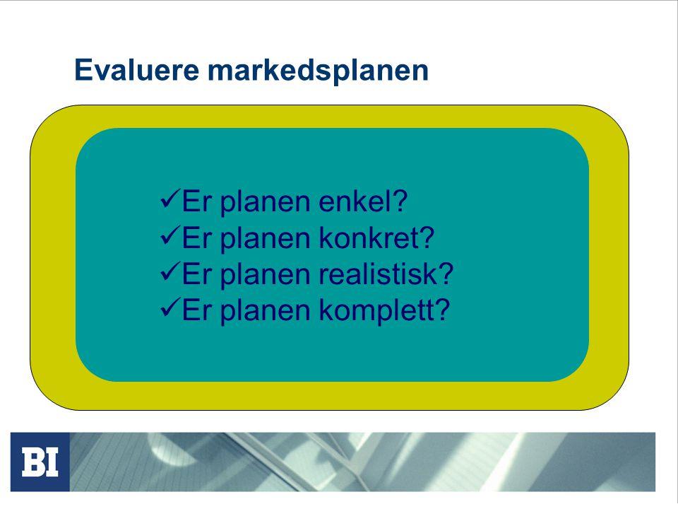Evaluere markedsplanen