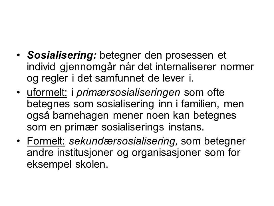 Sosialisering: betegner den prosessen et individ gjennomgår når det internaliserer normer og regler i det samfunnet de lever i.