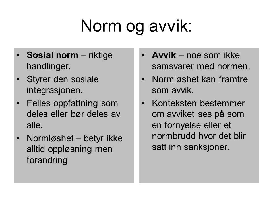 Norm og avvik: Sosial norm – riktige handlinger.