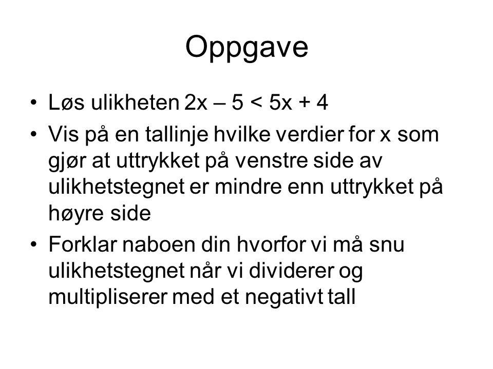 Oppgave Løs ulikheten 2x – 5 < 5x + 4
