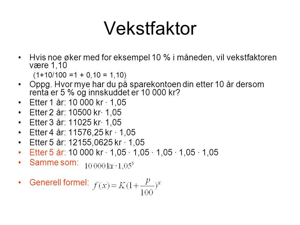 Vekstfaktor Hvis noe øker med for eksempel 10 % i måneden, vil vekstfaktoren være 1,10. (1+10/100 =1 + 0,10 = 1,10)