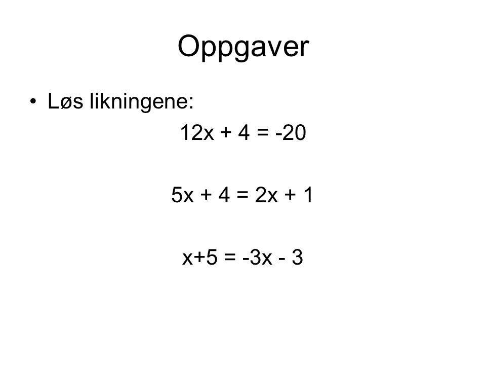 Oppgaver Løs likningene: 12x + 4 = -20 5x + 4 = 2x + 1 x+5 = -3x - 3