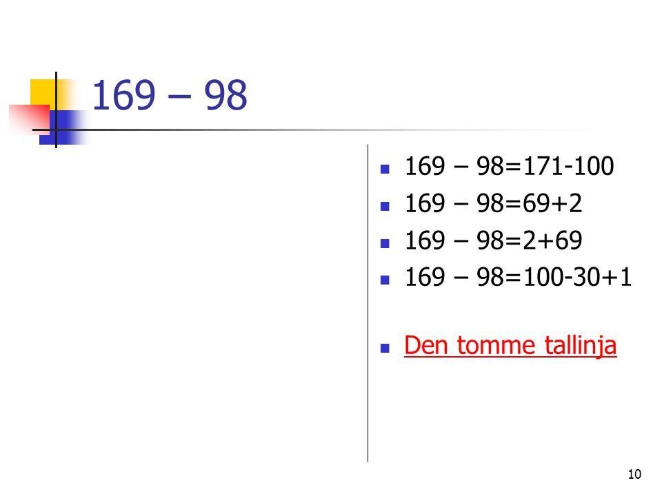 169 – 98 169 – 98=171-100 169 – 98=69+2 169 – 98=2+69 169 – 98=100-30+1 Den tomme tallinja