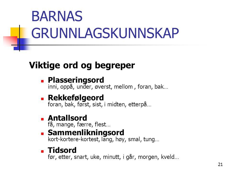 BARNAS GRUNNLAGSKUNNSKAP