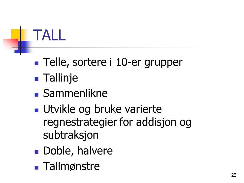 TALL Telle, sortere i 10-er grupper Tallinje Sammenlikne