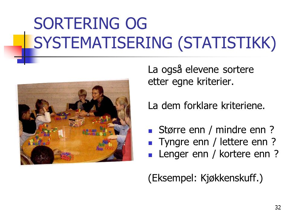 SORTERING OG SYSTEMATISERING (STATISTIKK)