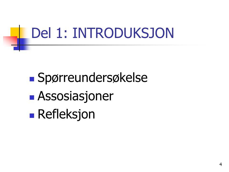 Del 1: INTRODUKSJON Spørreundersøkelse Assosiasjoner Refleksjon